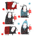 knitting crafty sheep scribble cartoon collection vector image vector image