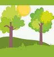 landscape farm trees foliage meadow clouds sun vector image
