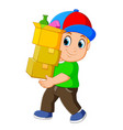 man with stacked boxes vector image