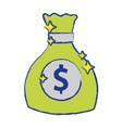 money bag with cash money icon vector image