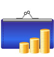 money icon with purse and coins vector image vector image