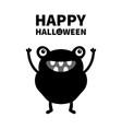 monster black silhouette happy halloween cute vector image