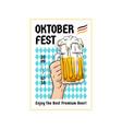 oktoberfest retro poster design two hands holding vector image vector image