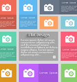 Photo Camera icon sign Set of multicolored buttons vector image