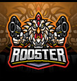 rooster gunners cyborg mascot logo vector image vector image