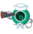 sailor with binocular siacoin mascot cartoon style vector image vector image