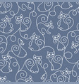 seamless pattern of cute cartoon cats curls lines vector image