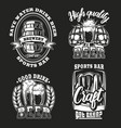 set beer on dark background vector image vector image