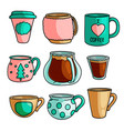 set different type daily hot coffee cup vector image
