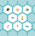 set of beach icons flat style symbols with vector image vector image