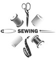 sewing and cutting needle and miscellaneous tools vector image vector image