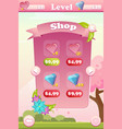 shop screen for floral mobile game vector image vector image
