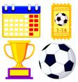 soccer championship waiting cartoon icon set vector image