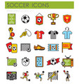 soccer outline icons set on white background for vector image