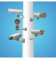 Surveillance Camera On Pillar vector image vector image