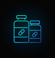 two pill bottle blue line icon vector image
