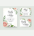 wedding floral invitation thank you rsvp card vector image vector image