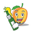 with beer apricot mascot cartoon style vector image vector image
