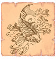hand drawn outline koi fish with wave japanese vector image
