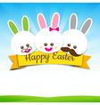 Happy easter rabbit bunny text with ribbon on vector image