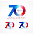 70 anniversary red blue logo vector image vector image