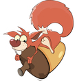 A squirrel and an acorn cartoon vector image vector image