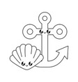 anchor marine with seashell kawaii vector image vector image
