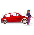 arabian woman buy car vector image vector image