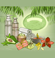 avocado organic oil and spa cosmetics background vector image