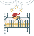 Baby sleeping in santa hat vector image vector image