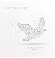 bird shape digitally drawn low poly wire frame vector image