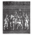 byzantine fabric have one horse and three man in vector image