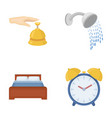 call at the reception alarm clock bed shower vector image vector image