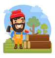 cartoon lumberjack with axe vector image vector image
