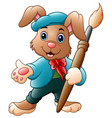 cartoon rabbit painter holding brush vector image