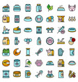 cat food icons set flat vector image vector image