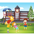 Children playing with bar in the playground vector image