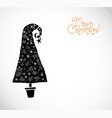 christmas greeting card with black christmas tree vector image