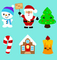 christmas icons collection santa vector image vector image