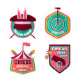 circus icons set of clown magic hat and vector image