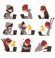 collection of hackers in masks stealing vector image