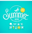 Colorful lettering summer and icons vector image