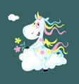 cute unicorn sitting on a cloud vector image vector image