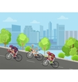 Cyclist man on race bicycle ride up the road in vector image vector image