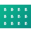 Database icons on green background vector image vector image