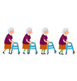 elderly woman with walking frame vector image vector image