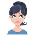 facial expression of a woman - sad unhappy vector image vector image