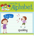 Flashcard letter S is for speaking vector image
