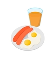 Fried eggs with sausages icon cartoon style vector image