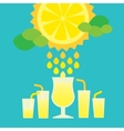 Glass of summer lemonade drink on blue background vector image